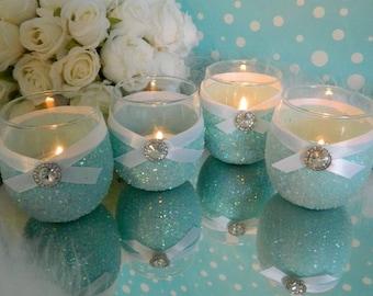 6 Candle Holder, Bridal Shower, Bridal Shower Decor, Bridal Shower Favors, Bridal Shower Decorations, Turquoise, Tiffany Blue, Tiffany, Aqua