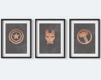 Superhero Wall Art, Superhero Print, Superhero Kids Room Poster, Copper Wall Art, Man Cave Decor, Nerd Room Art, Superhero Marvel Posters