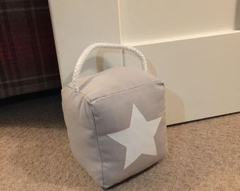 Grey and White Star Cotton Doorstop - SCAR[ZB243]