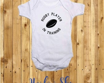 100% White Cotton Baby Vest/Onesie With Rugby Player In Training Print *Baby Shower*Gift*Newborn*