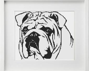 BOGO free, BULLDOG, cross stitch pattern, instant download, REF 108/Bulldog