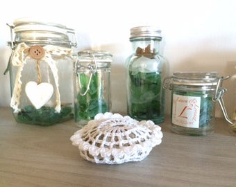 Recycled glass Jar favors with treasures of the Mediterranean Sea, Sea Glass and shells and Sea Glass in a Jar, Beach Wedding favors