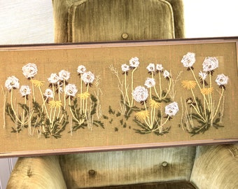 Framed 31 x 13 Dandelion Crewel  White / Yellow / olive green Crewel Flowers