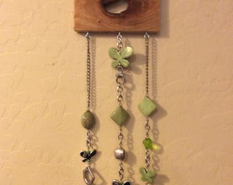Wood wind chime with butterflies