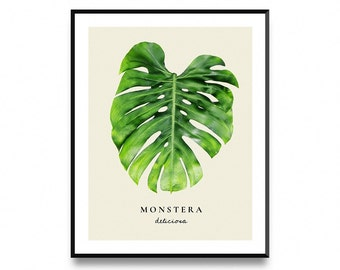 monstera print monstera wall art monstera leaf art monstera art print monstera