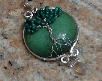 Handcrafted, Tree of life Jasper & Magnesite, Silver