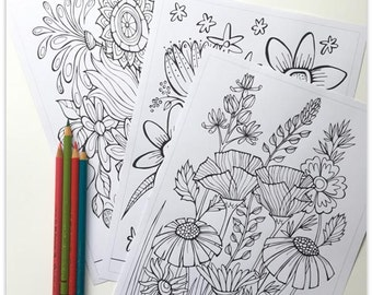 Printable 3 Colouring Pages: Quirky Botanicals 1