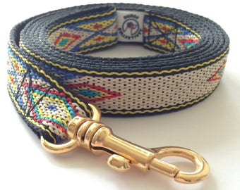 Dog leash: Native American style with gold metal carabiner