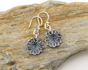 Fine silver flower earrings, poppy seedpod floral dangle, gift for nature lover, Irina Miech metal clay