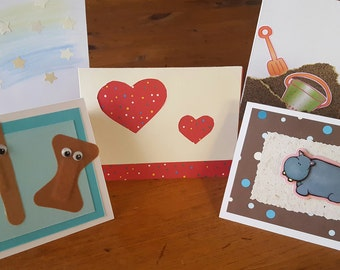 Set of 5 blank handmade cards - General, Get Well Soon, Wishes, Graduation, Baby, Beach, Love
