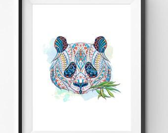 Colorful Panda Art, Panda Wall Art, Mosaic Panda Print, Animal Print, Ethnic Panda, Panda Digital Print, Digital Download