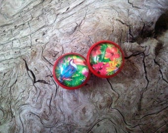 "Earrings cabochon 12mm, red, ""tropical"" base"