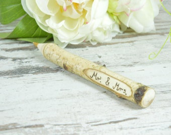 Wedding Guest Book Pen, Twig Pen Wedding Favours, Personalised
