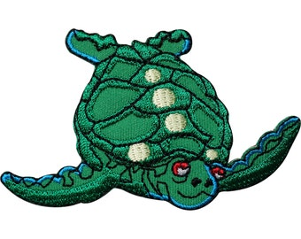 Turtle Embroidered Iron / Sew On Patch Applique Crafts Embroidery T Shirt Badge