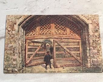Vintage postcard, Tower of London postcard, Tower of London, london, traitor's gate, vintage stamp,