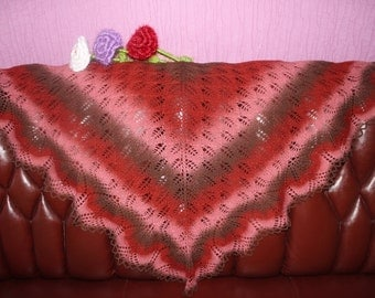 "Knitted warm wool shawl ""Harun"""