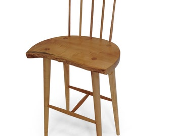 Maple high stool with spindle back