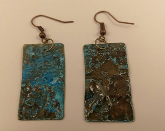 Copper earrings with a patina finish