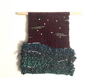 Montara- Small Handwoven Wall Hanging on Dowel Ocean Blue Sky Plum