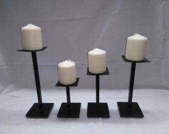 Set Of 4 Black Welded Steel Candle Holders With Candles Handmade Decor