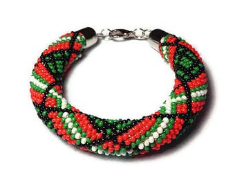 Beaded Bracelets Crochet Bracelet Nepal Bracelet Beads Glass Bead Bracelet Jewelry Womens Bracelet Roll On Bracelet Seed Bead Bracelet Gift