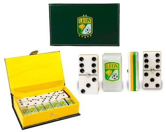 Club Leon Dominoes Game Set Double Six Domino Dominoes Leather Case Futbol Dominoes Great for Party / Gift Family Dominoes Man Cave