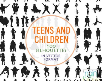 Children Clipart Svg, Teenagers Silhouettes, Kids Svg Files, Children Silhouettes, Silhouette Clipart, Design Elements, Svg Silhouette