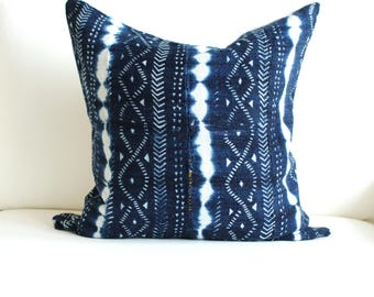 "20"" x 20"" Vintage African Indigo Pillow Cover"