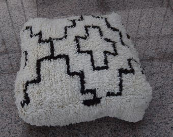 Puf de lana cuadrados marroquí Beniouarain, Pufs suelo multicolor de lana hecho a mano