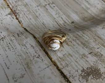 Gold glass bead ring