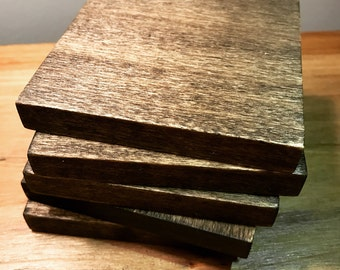 Natural wood coasters (set of 4 or 6), 3.5 inch handmade rustic (plain)