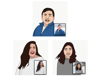 Custom Digital Portraits, Prints, Custom Line Art Illustration, Pet portrait, Custom digital illustration, family portrait