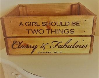 Wooden Coco Chanel No5 Fashion Quote Vintage Wine Crate Box Storage Shabby Chic