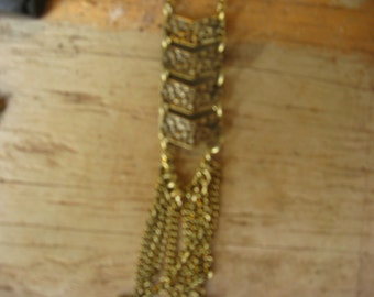 Gold Bronze Arrow Tassle Necklace