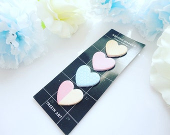 Cute Sticky Notes- Set of 4 Hearts, Memo, Stripes