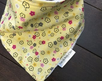Baby Bandana Bib - Yellow with Small Flowers