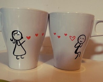 Pair of Mugs/cups decorated by hand. MEN in LOVE gift for any special occasion.
