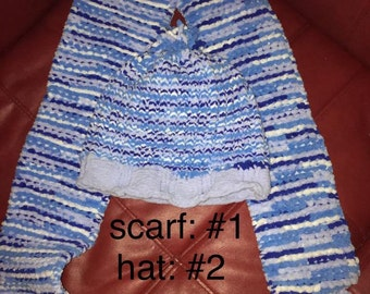 Blue Striped Hat and Scarf