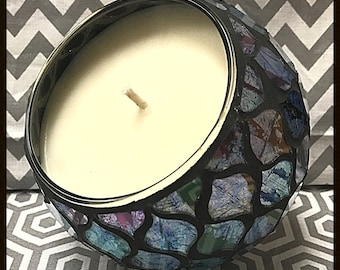 Boho Candle, Stained Glass, Decorative Candle,  Housewarming Gift, Home Decor, Glass Candle Holder, Soy Candle, Hand Poured Candles