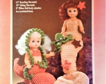 "1989 Fibre Craft FCM 204 Coral Mermaids Crochet Pattern for 13"" kneeling mermaid or 19"" sitting mermaid or 8"" pillow doll"