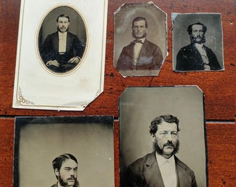 Mad About Mutton Chops:  Lot of 5 Antique Tintype Photographs of Men With Interesting Facial Hair