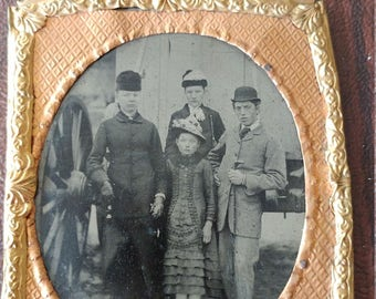 Rock Me Momma Like a Wagon Wheel:  Outdoor Antique Tintype Photograph of Well Dressed Family