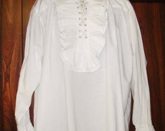 Frilly White Medieval/Gothic/Pirate/Victorian Shirt size L, 100% Cotton