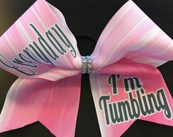 Everyday I'm Tumbling Cheer Bow