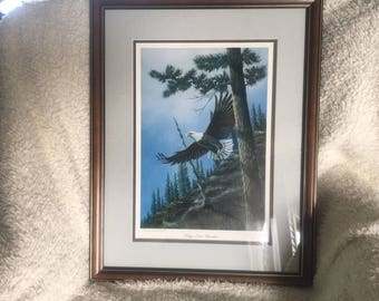 Vintage Wildlife eagle in flight lithograph, Dave Constantine, artist proof, numbered signed, Wings Over Paradise