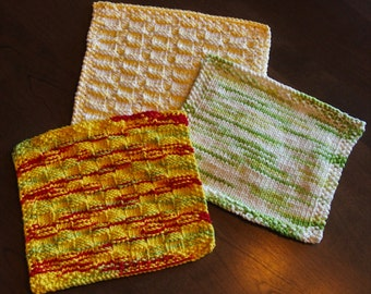 100% cotton handmade knitted kitchen and bathroom dishcloths washcloths, yellow, green, white, red