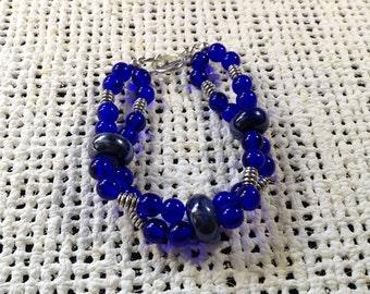 Blue double stranded large bead bracelet