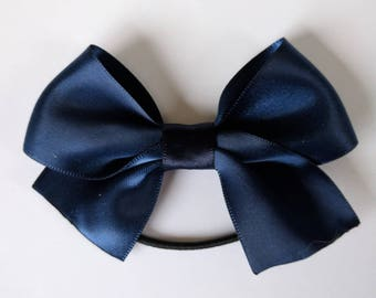 Satin Ribbon bow  // baby bow // toddler bow // elastic // headband with bow // baby bow // bow aligator clip // navy bow // ivory bow //