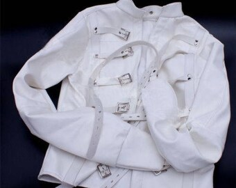 White Asylum Straight Jacket Costume L/XL (Large Armbinder Restraint)