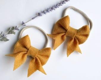 Jane' bow in mustard/ mustard felt headband/ Mustard bow/ Mustard headband